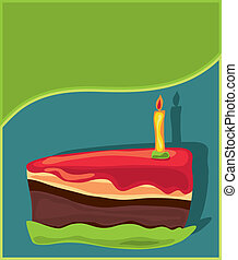 Piece of birthday Cake with candle.