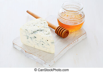 piece of blue cheese and honey