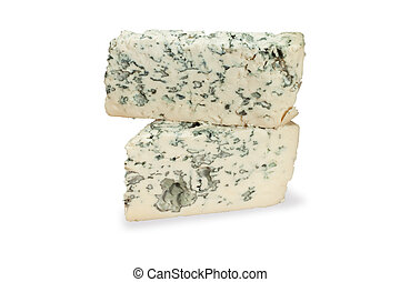 piece of blue cheese on white
