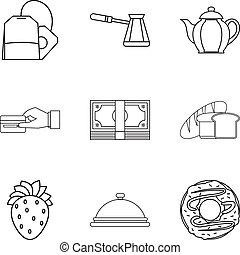 Piece of bread icons set, outline style