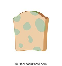 Piece of bread with mold isolated. Foul food vector...