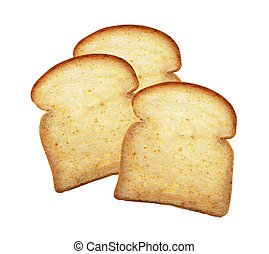 Piece of breads on a white background