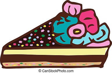 Piece of cake. Doodle, hand draw. Vector illustration on isolated background.