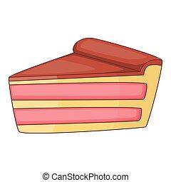 Piece of cake icon, cartoon style