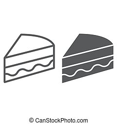 Piece of cake line and glyph icon, sweet and food, pie sign, vector graphics, a linear pattern on a white background.