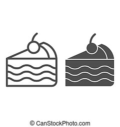 Piece of cake line and glyph icon. Sweet vector illustration isolated on white. Pie outline style design, designed for web and app. Eps 10.