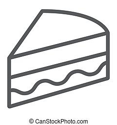 Piece of cake line icon, sweet and food, pie sign, vector graphics, a linear pattern on a white background.