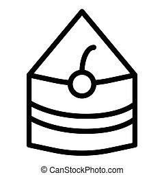 Piece of cake line icon. Sweet food vector illustration isolated on white. Cake with cherry outline style design, designed for web and app. Eps 10.