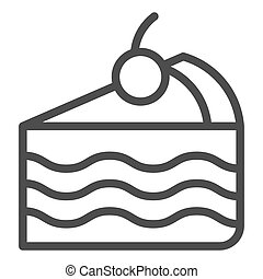 Piece of cake line icon. Sweet vector illustration isolated on white. Pie outline style design, designed for web and app. Eps 10.