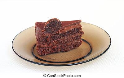 piece of cake on a dark dish