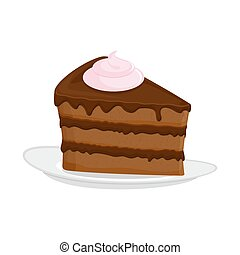 Piece of cake on plate. pie isolated. Dessert on white...