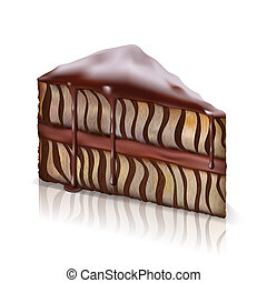 piece of cake - piece of sponge cake with chocolate flowing...