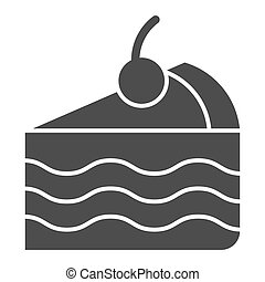 Piece of cake solid icon. Sweet vector illustration isolated on white. Pie glyph style design, designed for web and app. Eps 10.