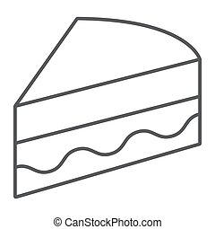 Piece of cake thin line icon, sweet and food, pie sign, vector graphics, a linear pattern on a white background.