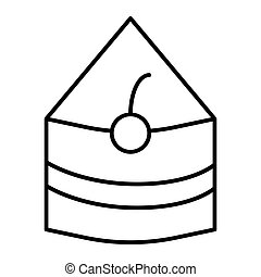 Piece of cake thin line icon. Sweet food vector illustration isolated on white. Cake with cherry outline style design, designed for web and app. Eps 10.