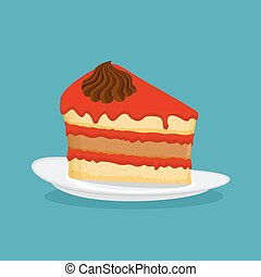 Piece of cake, vector illustration. Icon