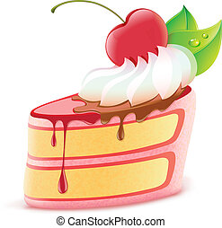 piece of cake - Vector illustration of stylized piece of...
