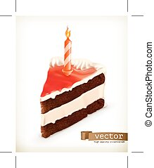 Piece of cake with a candle