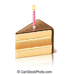 Piece of cake with chocolate vector illustration