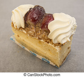 Piece of cake with fruits