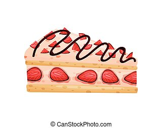 Piece of cake with pink cream. Vector illustration on white background.
