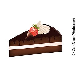 Piece of cake with strawberry