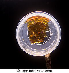 Piece of cannabis oil concentrate aka shatter used by medical marijuana patients