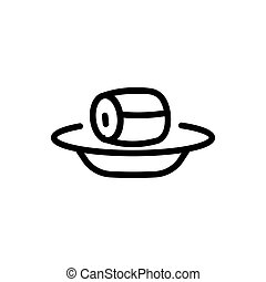 piece of canned fish on plate icon vector outline illustration