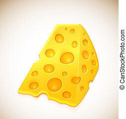 Piece of cheese with holes. Eps 10