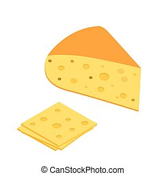 Piece of cheese icon in isometric. Flat 3d style vector on a white background