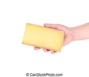 Piece of cheese in hand.