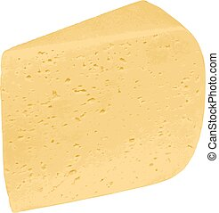 Piece of cheese isolated on a white background. Vector illustrat