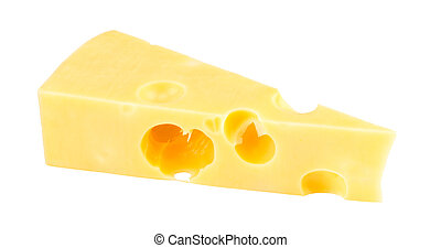 Piece of cheese isolated on a white background. With clipping path