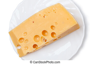 Piece of cheese on a white plate