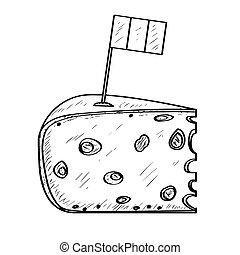 Piece of cheese with a flag - Outline