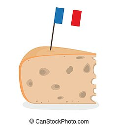 Piece of cheese with a flag