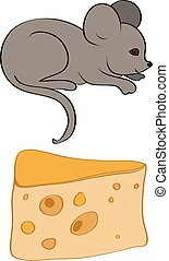 piece of cheese with holes and gray mouse vector