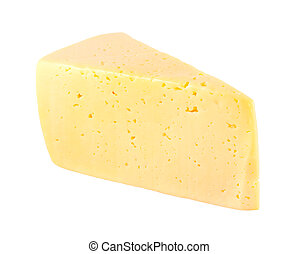 piece of cheese with holes Isolated on white - piece of...