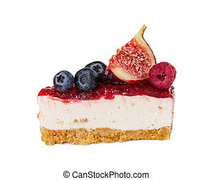 Piece of cheesecake with jam, fresh blueberries, figs and raspberries