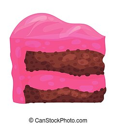Piece of chocolate cake. Vector illustration on a white background.