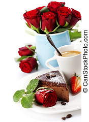 Piece of chocolate cake with coffee