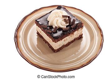 piece of chocolate cream cake