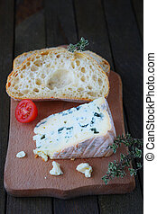 piece of ciabatta with blue cheese