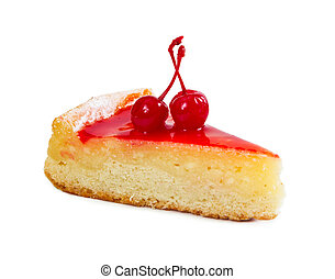 Piece of cottage cheese cake with two cherries and cherry syrup