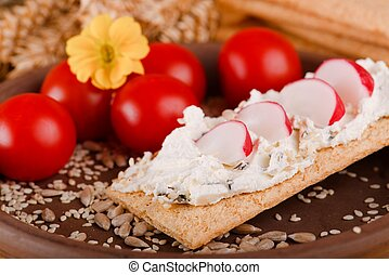 Piece of crispy bread with curd cheese and radish