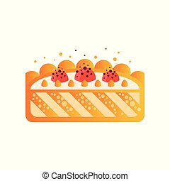 Piece of delicious cake vector Illustration on a white background