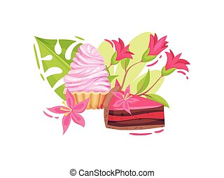 Piece of double-layer cake and a basket of whipped cream. Vector illustration on white background.