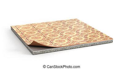 Piece of floor with linoleum coating. Flooring Installation....