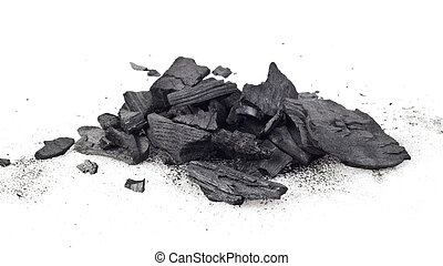 coal - Piece of fractured wood coal isolated over white ...