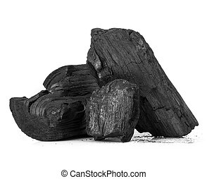 wood coal - Piece of fractured wood coal isolated over white...